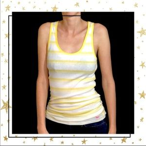 Go Pink VS Large Yellow striped tank top (D5)
